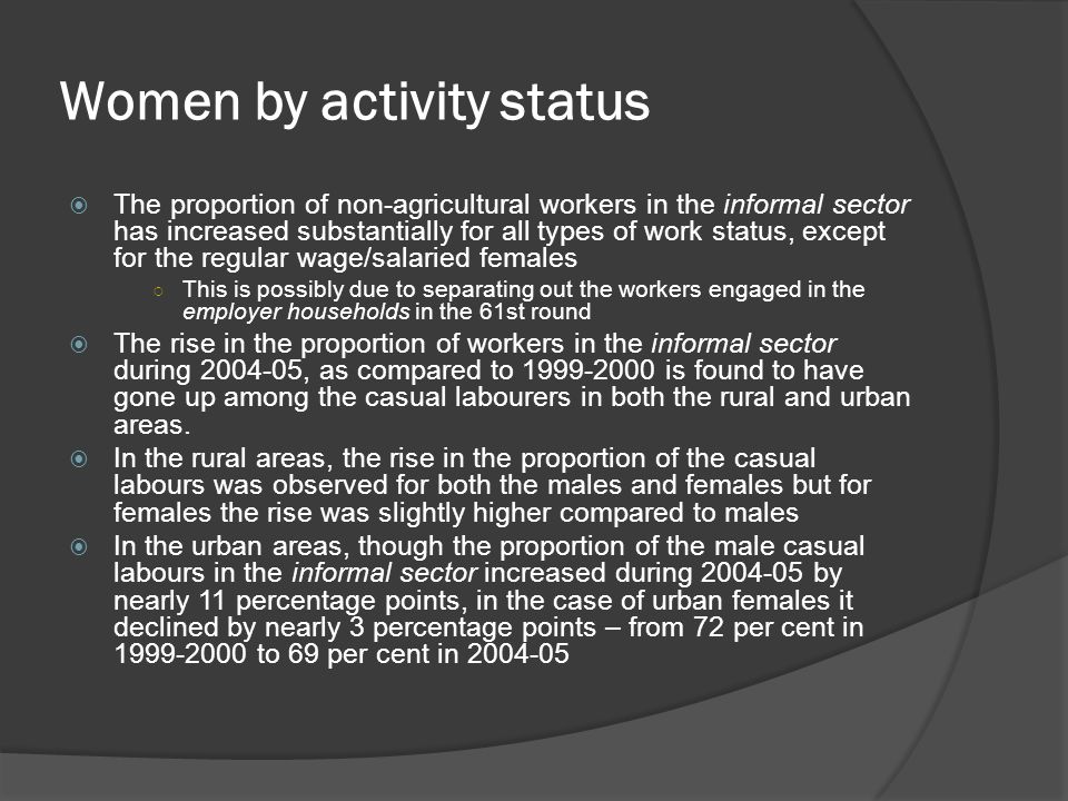 Women by activity status
