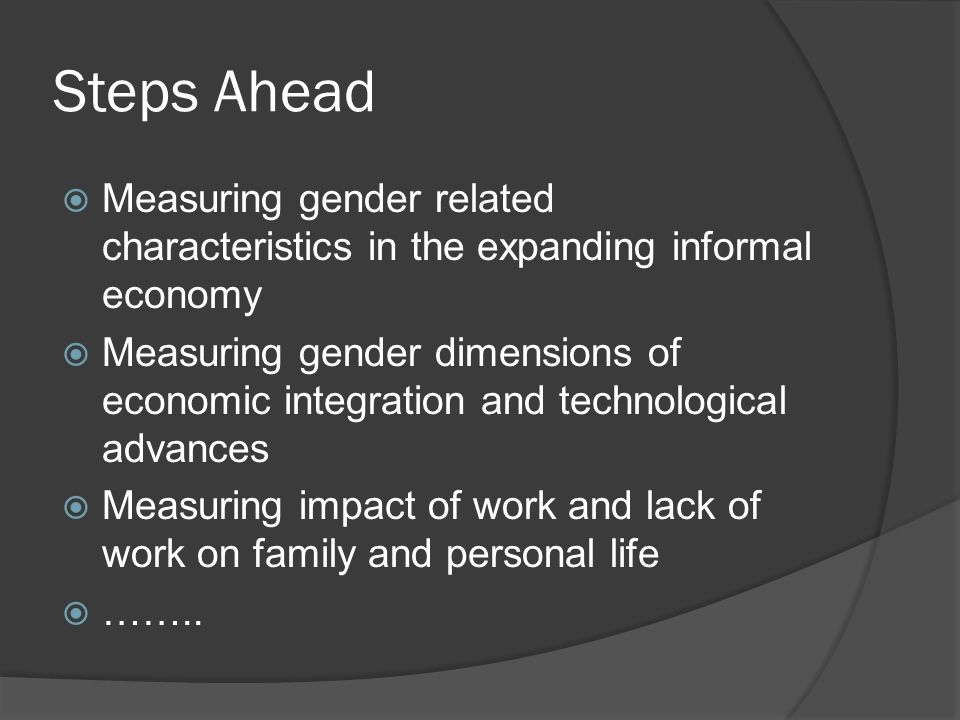 Steps Ahead Measuring gender related characteristics in the expanding informal economy.