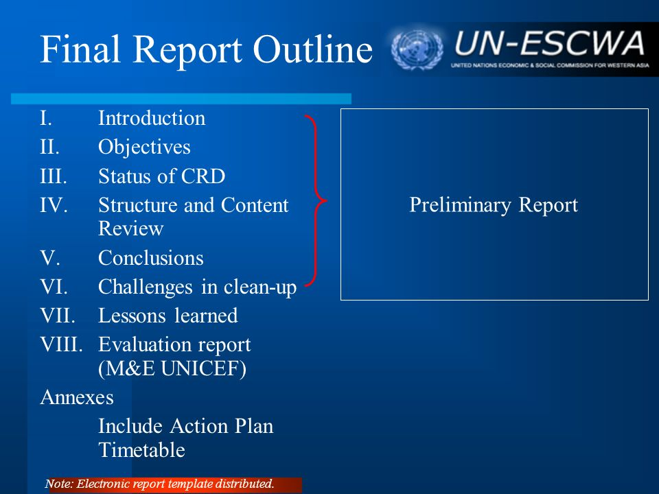 Final Report Outline Introduction Objectives Status of CRD