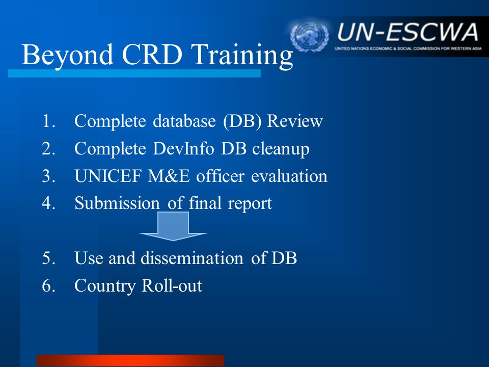 Beyond CRD Training Complete database (DB) Review