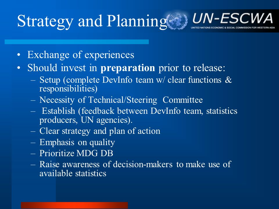 Strategy and Planning Exchange of experiences