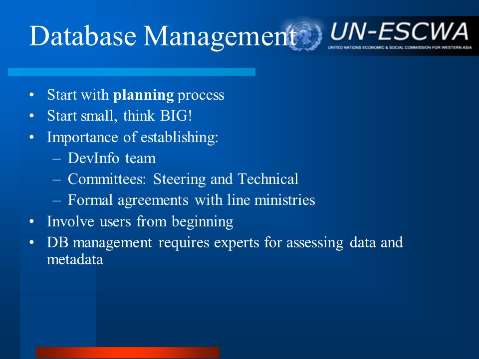 Database Management Start with planning process