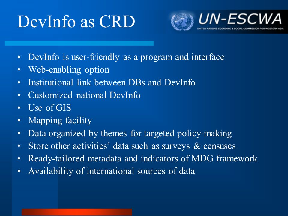 DevInfo as CRD DevInfo is user-friendly as a program and interface