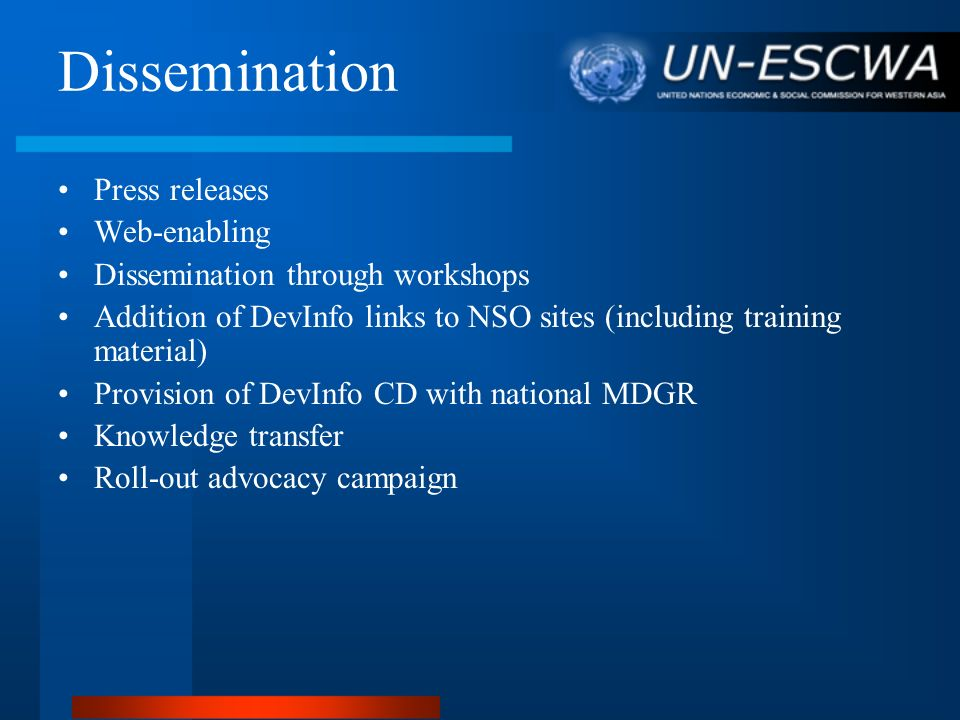 Dissemination Press releases Web-enabling