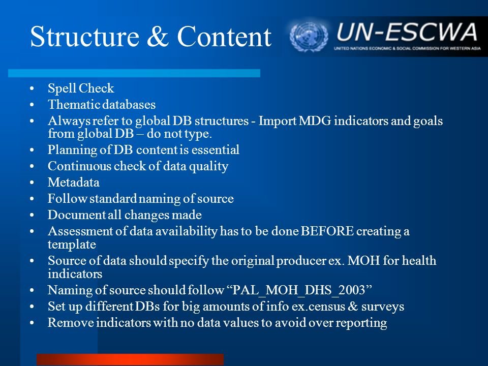Structure & Content Spell Check Thematic databases