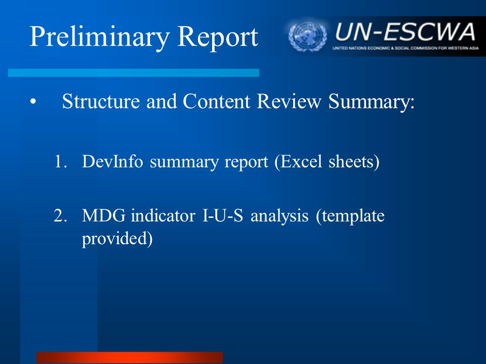 Preliminary Report Structure and Content Review Summary: