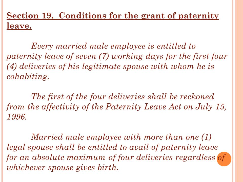 Section 19. Conditions for the grant of paternity leave.