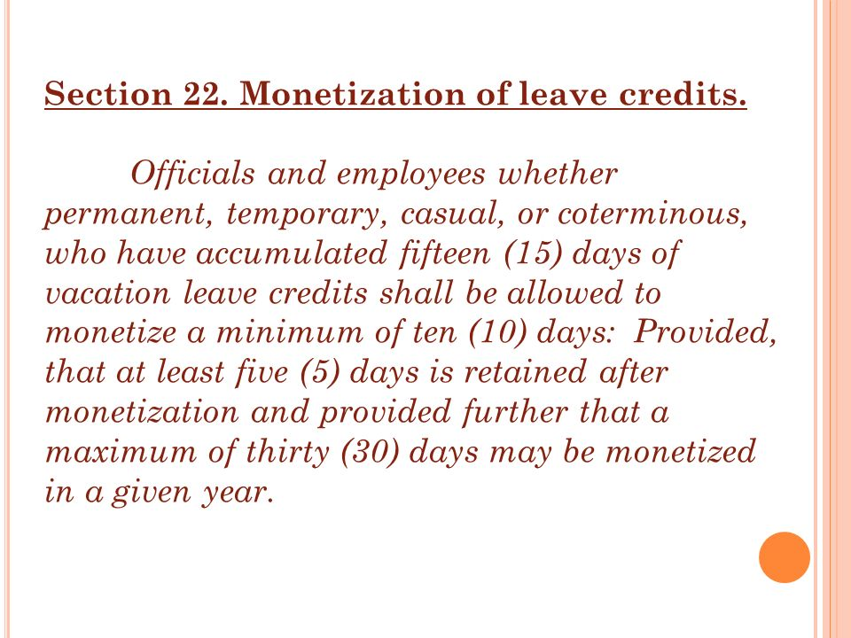 Section 22. Monetization of leave credits.