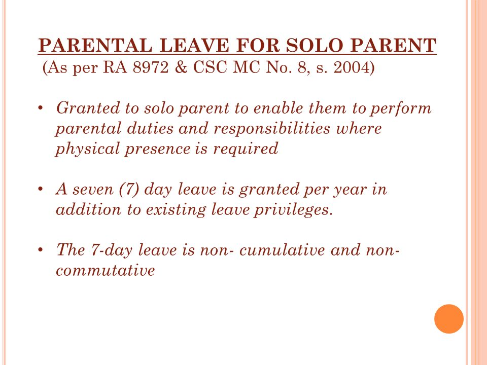 PARENTAL LEAVE FOR SOLO PARENT