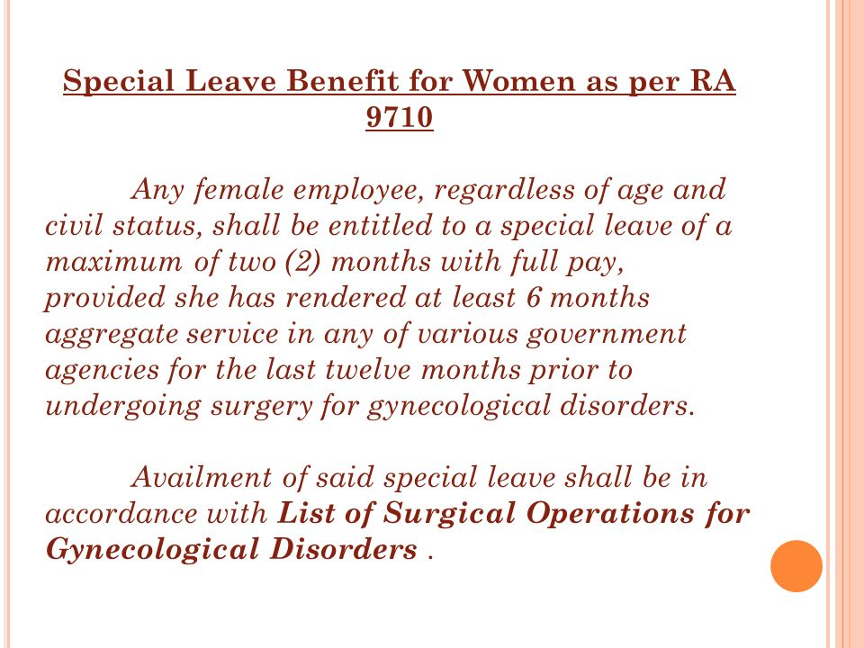 Special Leave Benefit for Women as per RA 9710