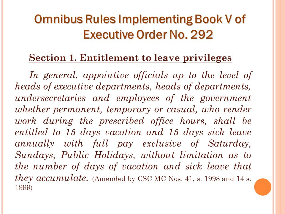 Omnibus Rules Implementing Book V of Executive Order No. 292