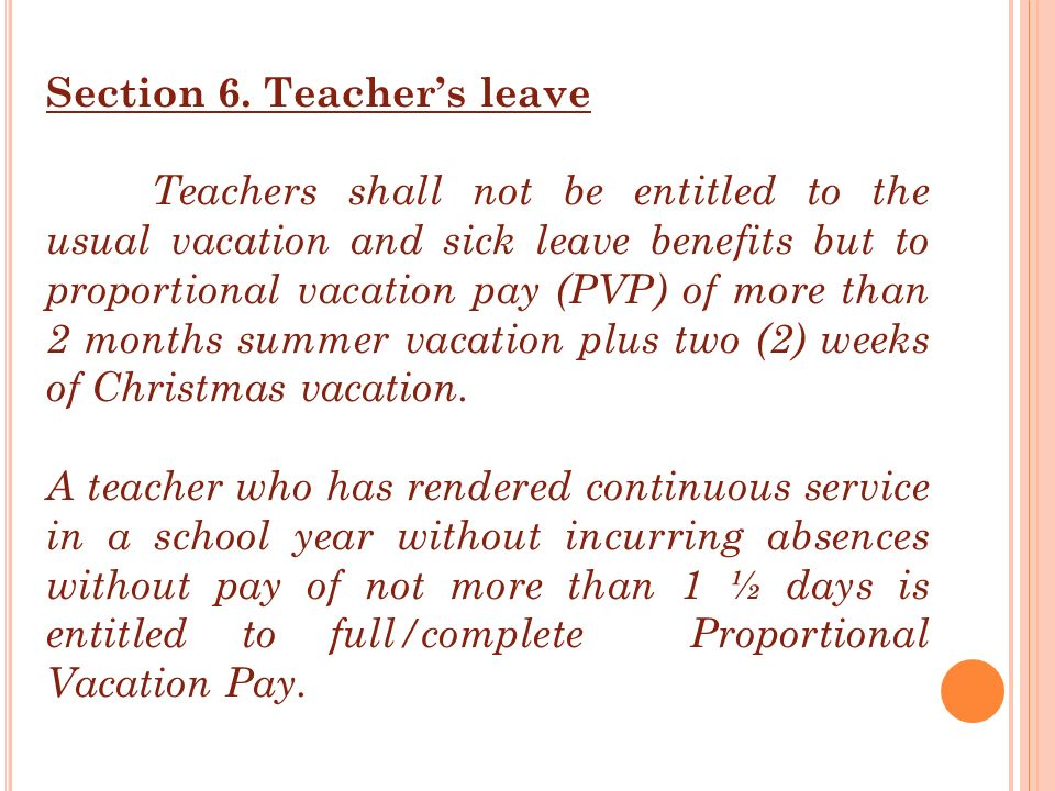 Section 6. Teacher's leave