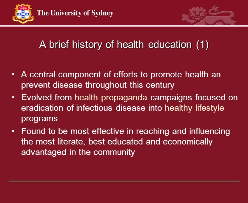 A brief history of health education (1)