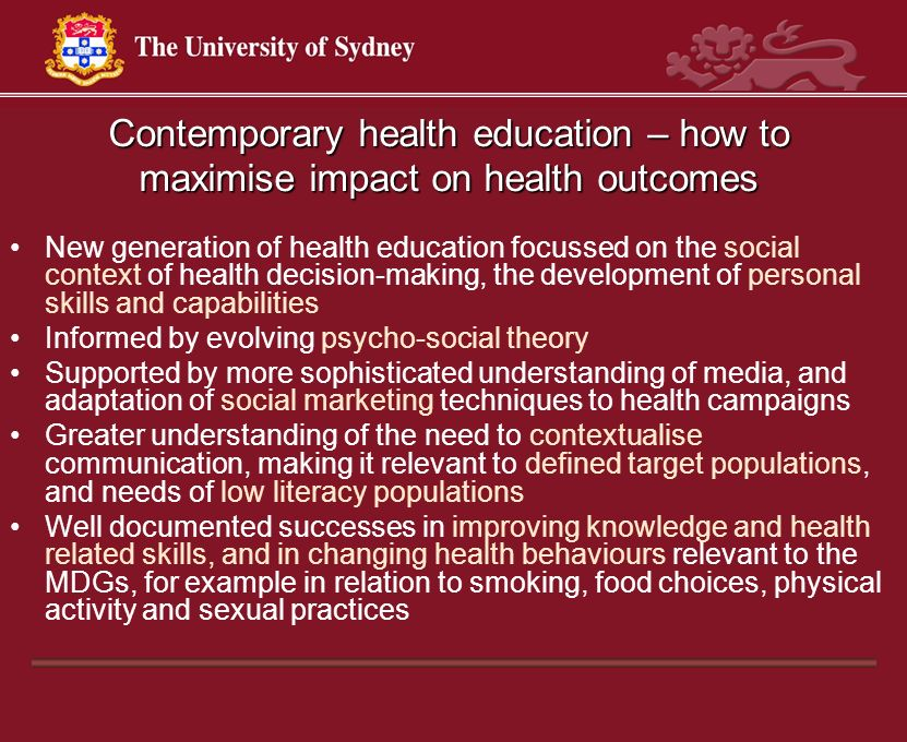 Contemporary health education – how to maximise impact on health outcomes