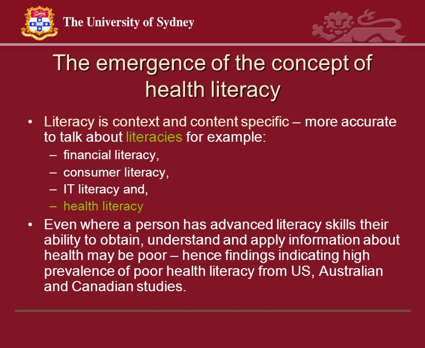 The emergence of the concept of health literacy