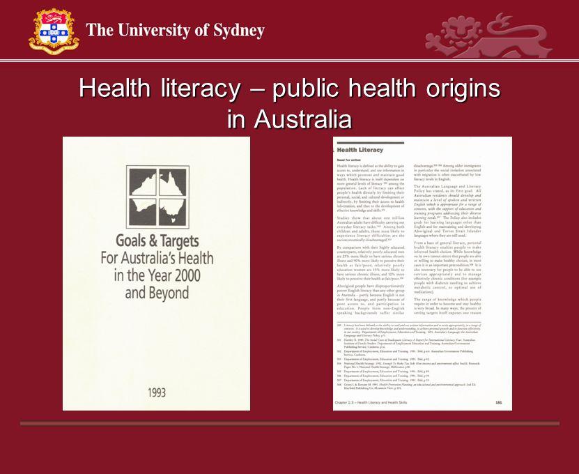 Health literacy – public health origins in Australia