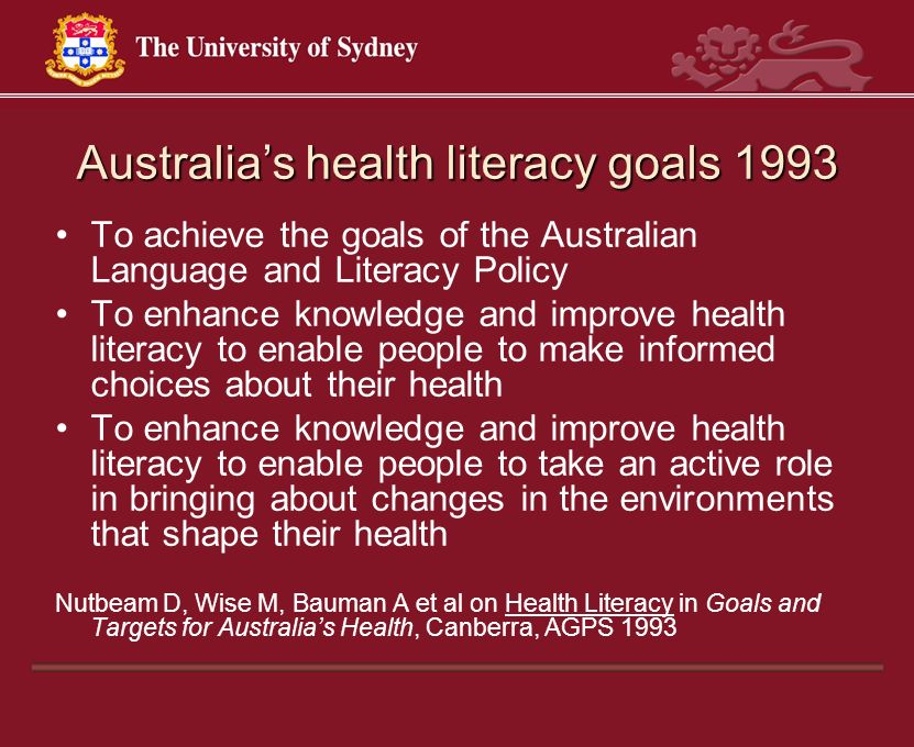Australia's health literacy goals 1993