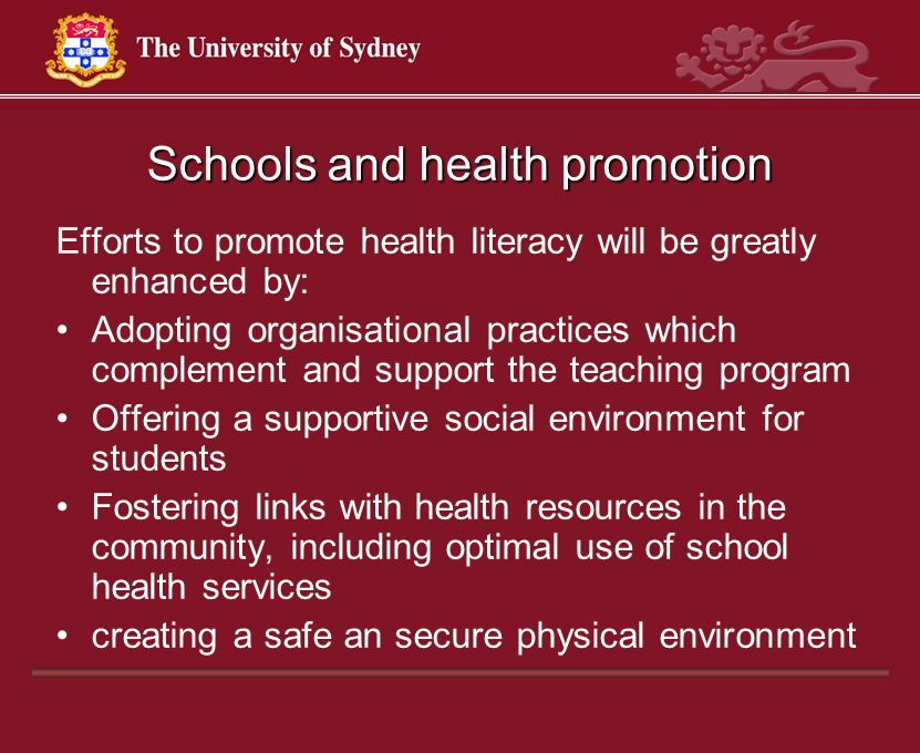Schools and health promotion