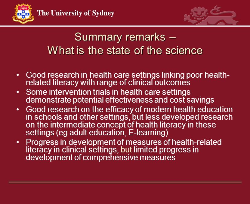 Summary remarks – What is the state of the science