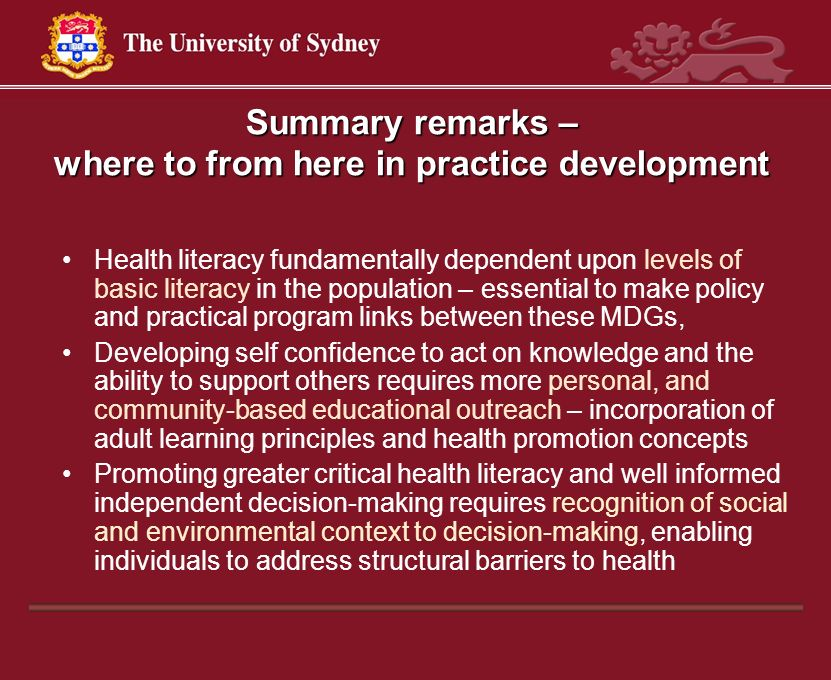 Summary remarks – where to from here in practice development