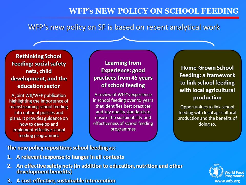 WFP's new policy on SF is based on recent analytical work