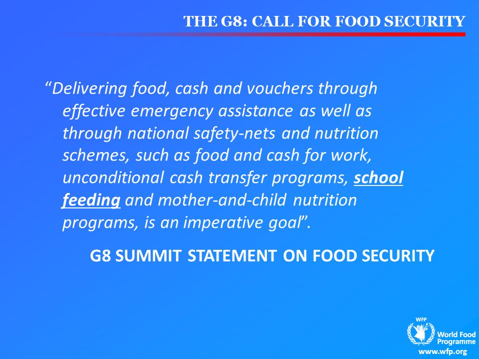 G8 SUMMIT STATEMENT ON FOOD SECURITY