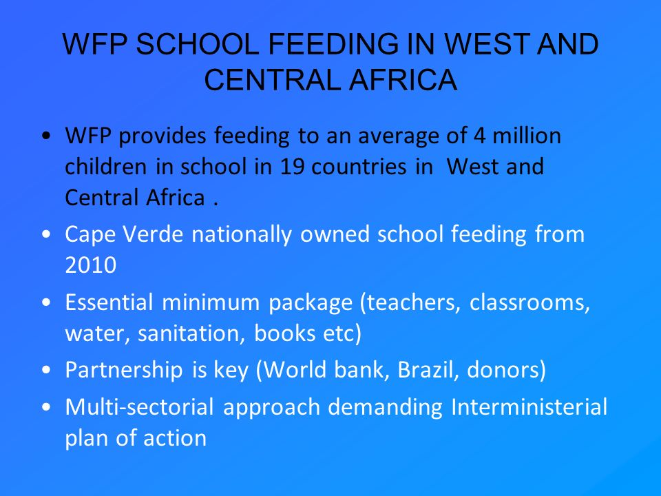 WFP SCHOOL FEEDING IN WEST AND CENTRAL AFRICA