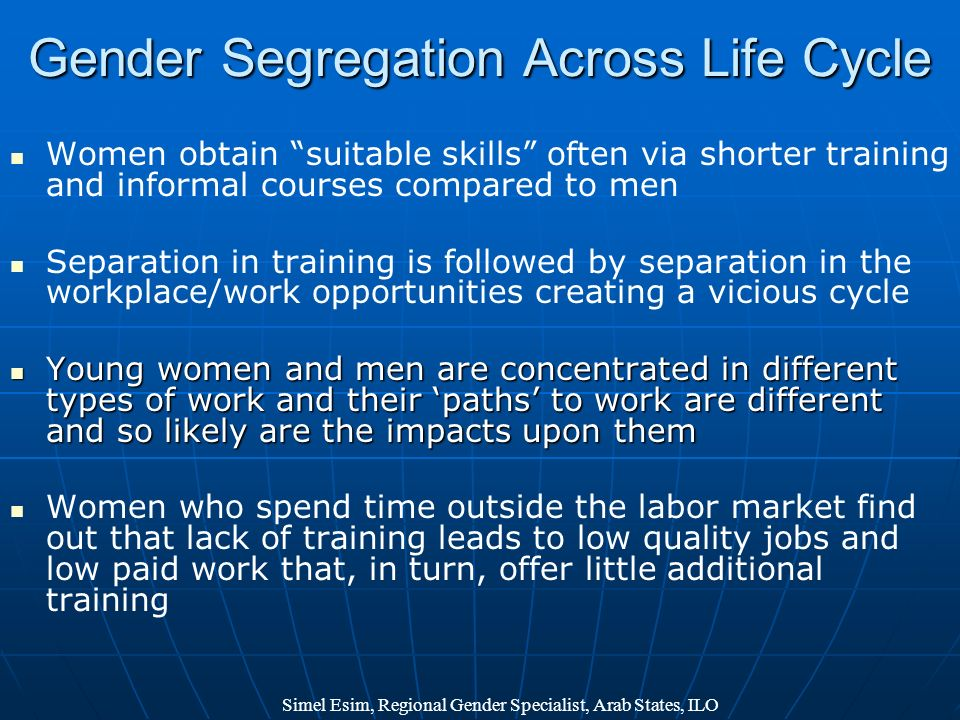 Gender Segregation Across Life Cycle