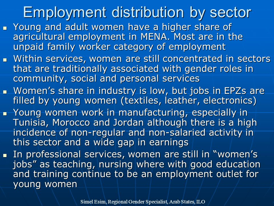 Employment distribution by sector