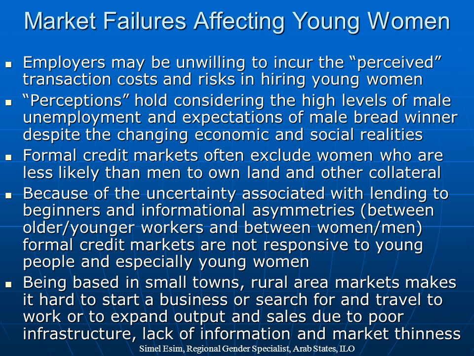 Market Failures Affecting Young Women