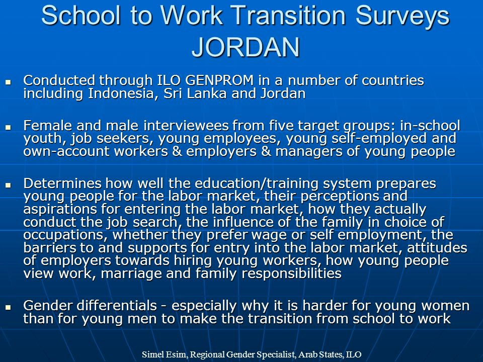 School to Work Transition Surveys JORDAN