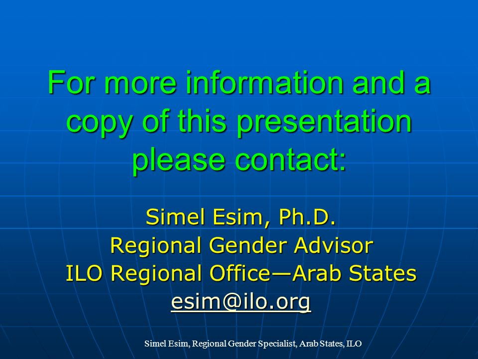 For more information and a copy of this presentation please contact: