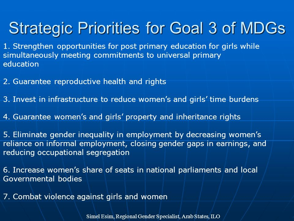 Strategic Priorities for Goal 3 of MDGs