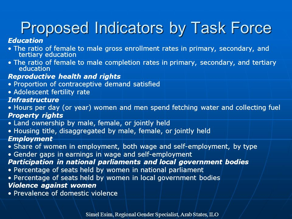 Proposed Indicators by Task Force