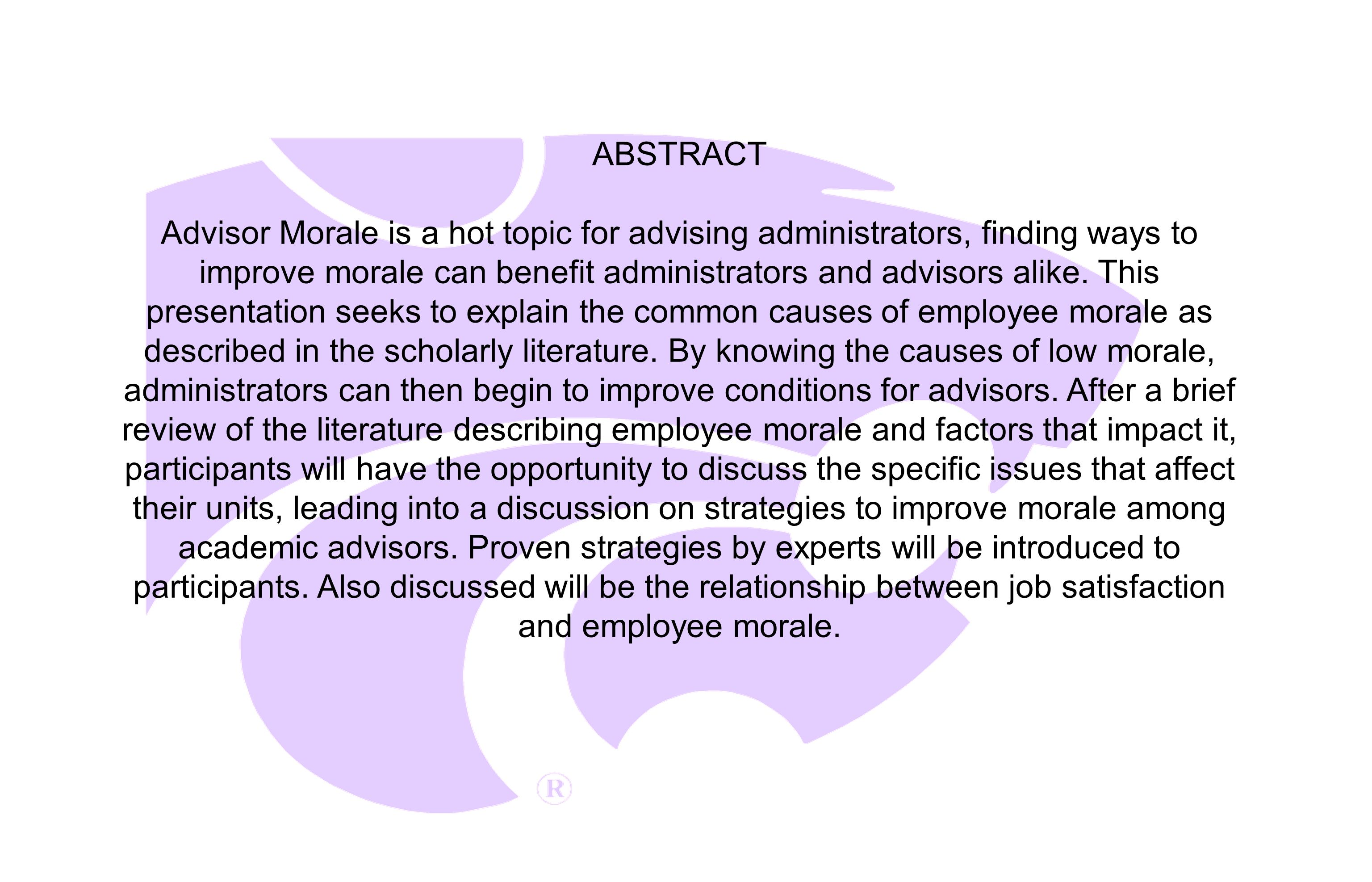 employee morale review of literature A brief literature review on employee motivation  in terms of its positive contribution in boosting employee morale shields (2007) stresses two specific .