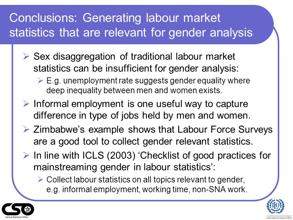 Conclusions: Generating labour market statistics that are relevant for gender analysis