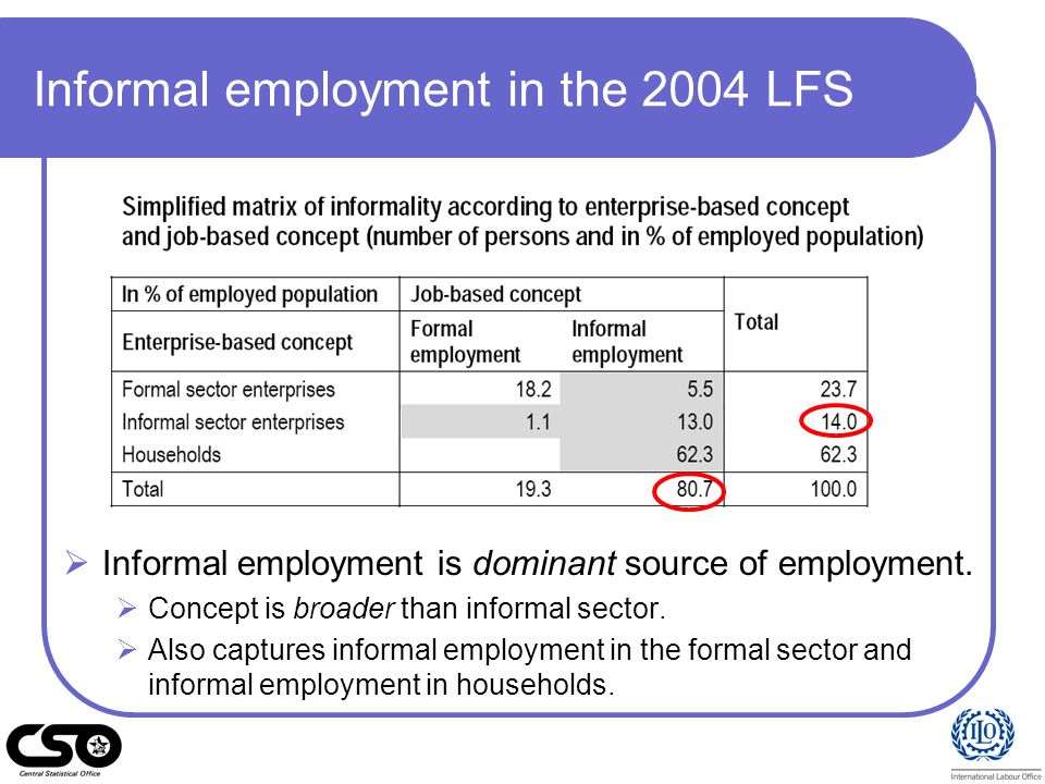 Informal employment in the 2004 LFS
