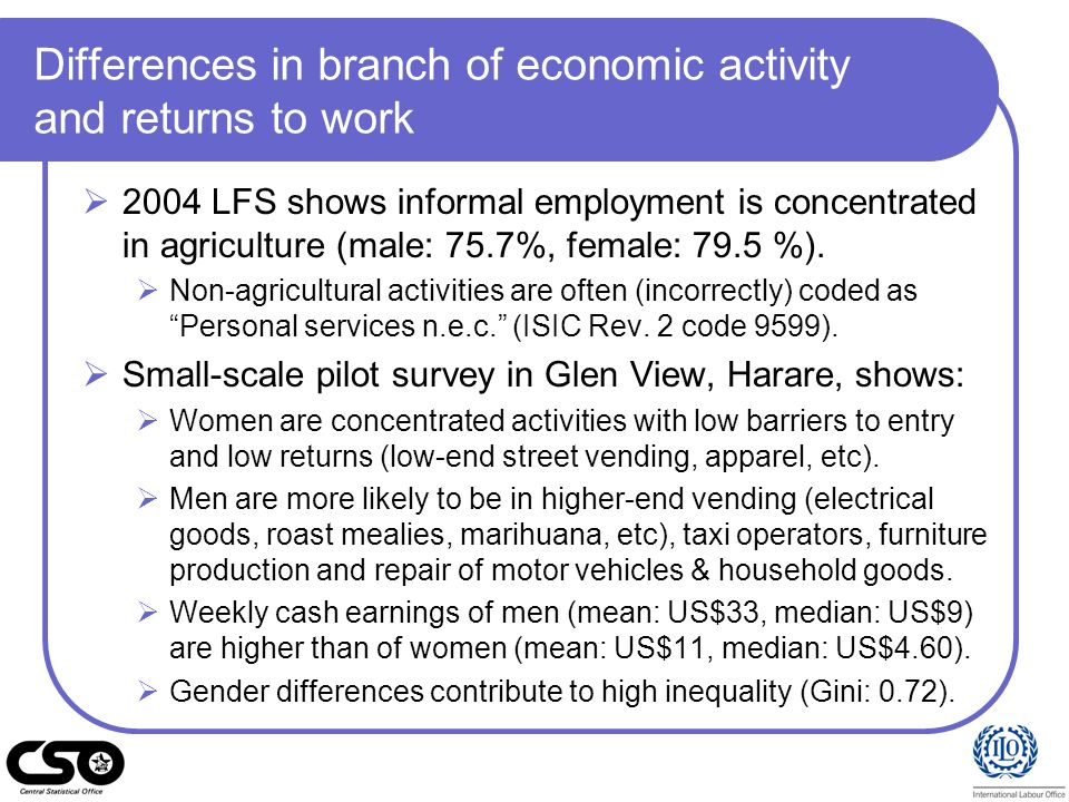 Differences in branch of economic activity and returns to work