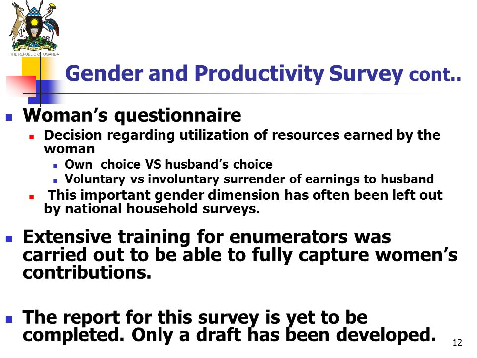 Gender and Productivity Survey cont..