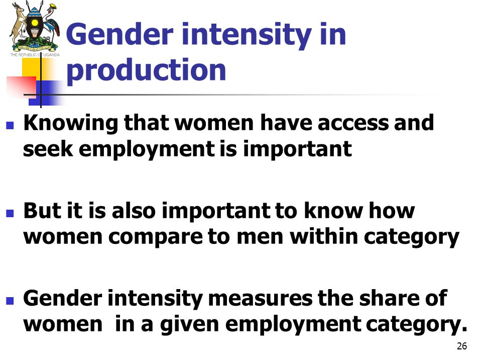 Gender intensity in production