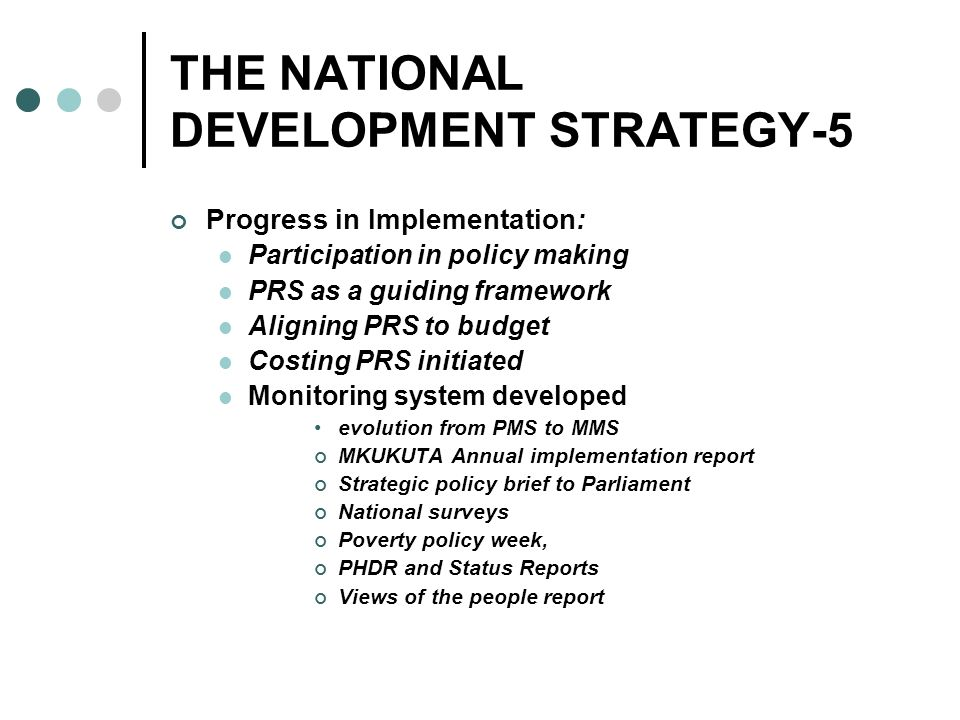 THE NATIONAL DEVELOPMENT STRATEGY-5