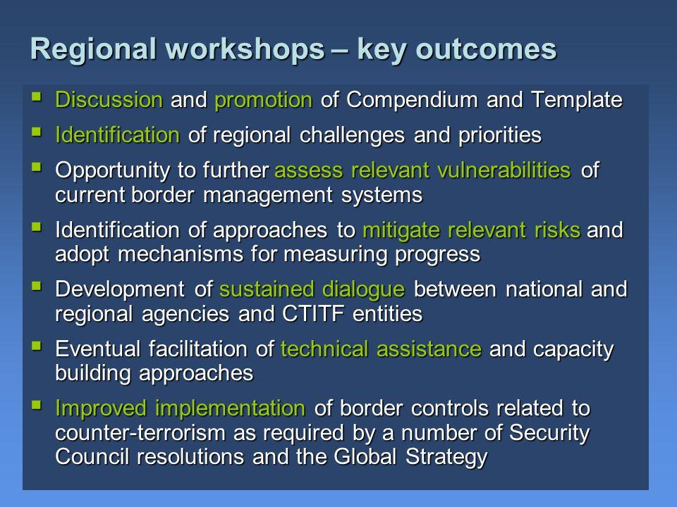 Regional workshops – key outcomes