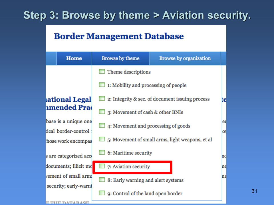 Step 3: Browse by theme > Aviation security.