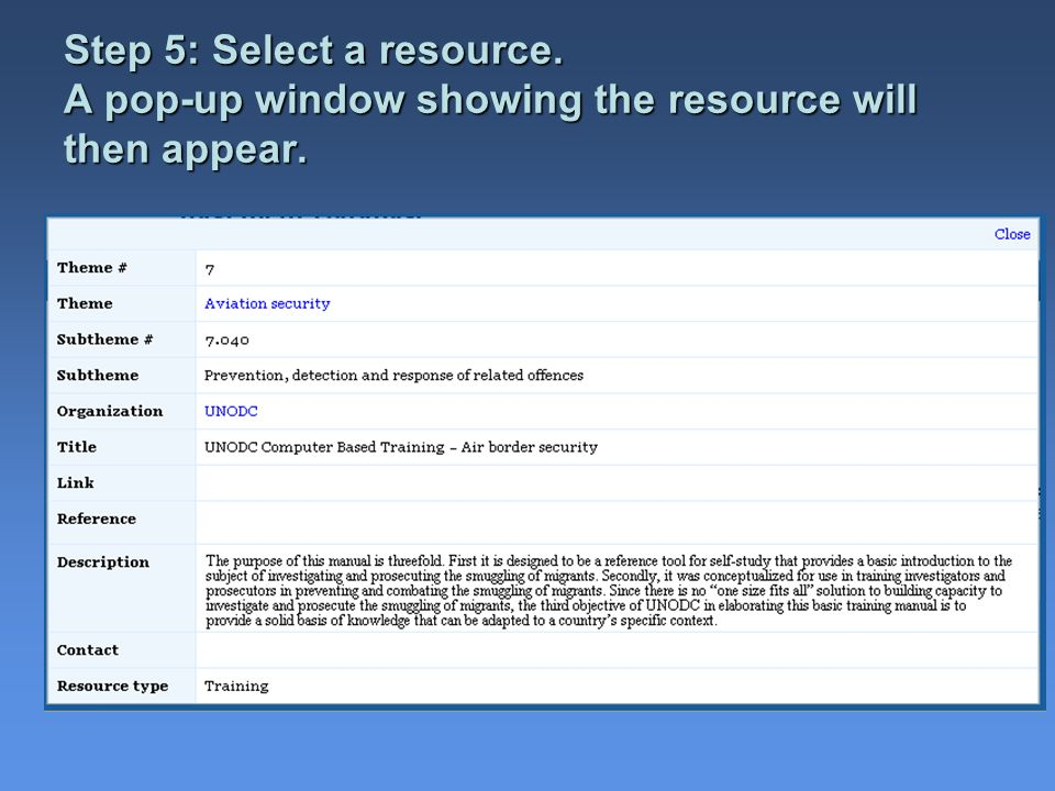 Step 5: Select a resource