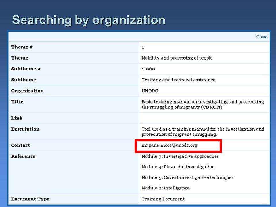 Searching by organization