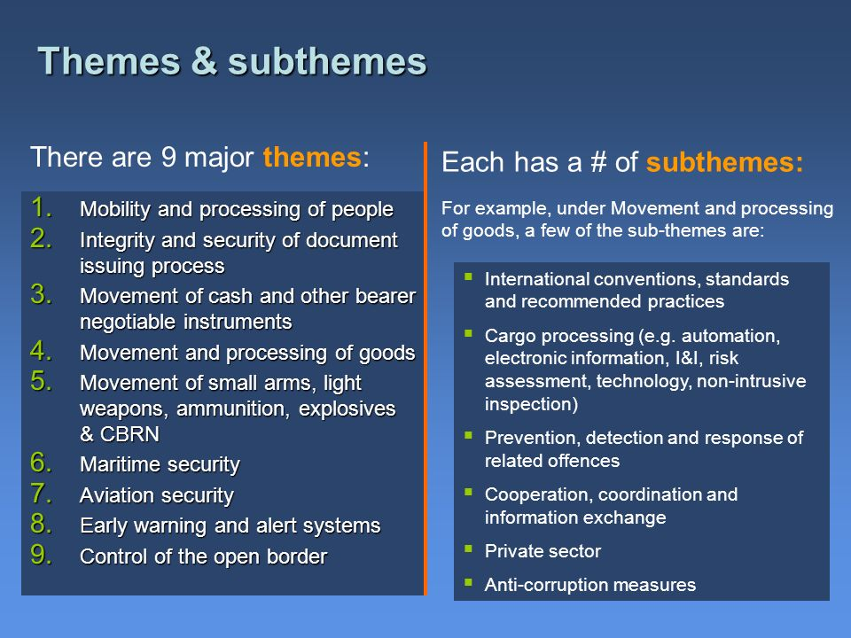 Themes & subthemes There are 9 major themes: