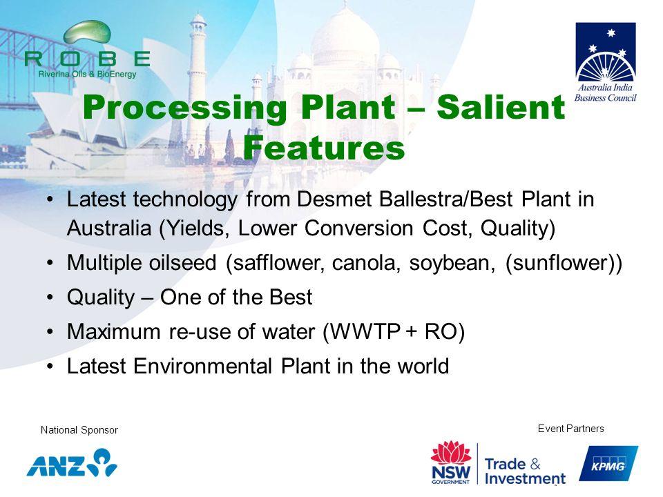 Processing Plant – Salient Features