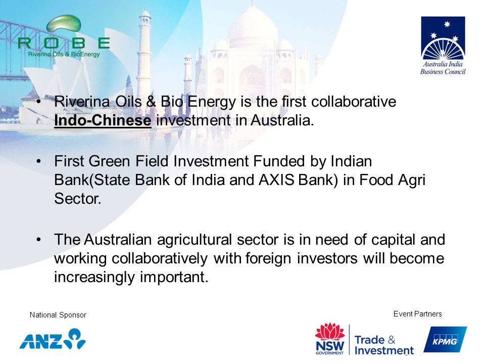 Riverina Oils & Bio Energy is the first collaborative Indo-Chinese investment in Australia.