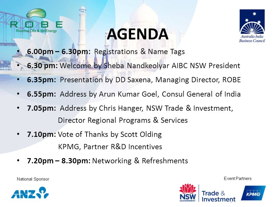 AGENDA 6.00pm – 6.30pm: Registrations & Name Tags
