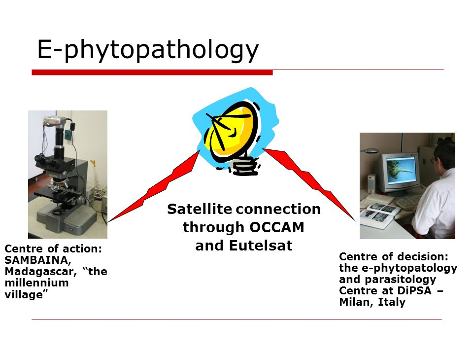 E-phytopathology Satellite connection through OCCAM and Eutelsat